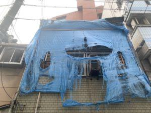ブルーシート養生 台風被害 ダイタク